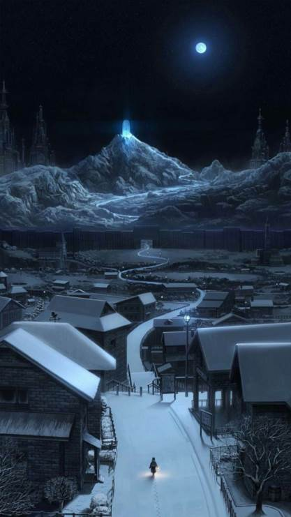 夜景,小村,村庄,灰色