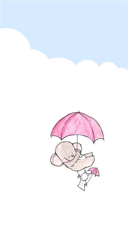兔子,大象,雨伞,可爱,萌,卡通,动漫,彩色